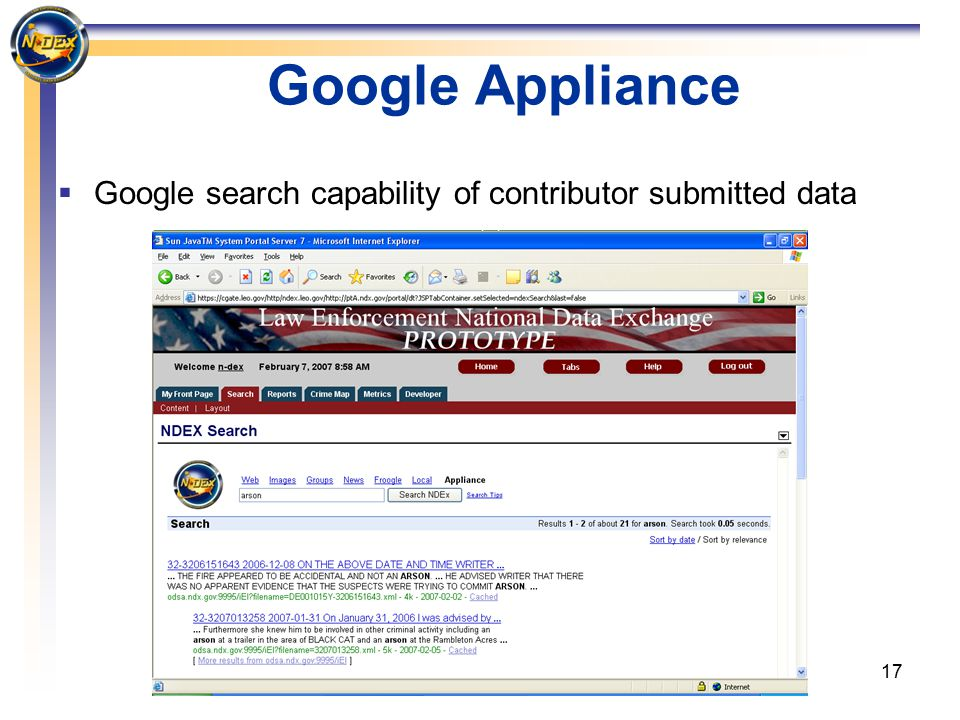 17 Google Appliance  Google search capability of contributor submitted data