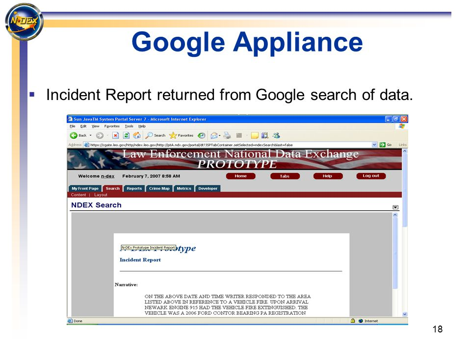 18 Google Appliance  Incident Report returned from Google search of data.