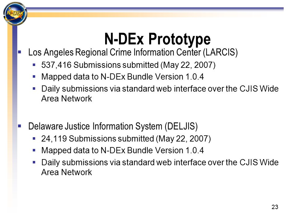 23 N-DEx Prototype  Los Angeles Regional Crime Information Center (LARCIS)  537,416 Submissions submitted (May 22, 2007)  Mapped data to N-DEx Bundle Version 1.0.4  Daily submissions via standard web interface over the CJIS Wide Area Network  Delaware Justice Information System (DELJIS)  24,119 Submissions submitted (May 22, 2007)  Mapped data to N-DEx Bundle Version 1.0.4  Daily submissions via standard web interface over the CJIS Wide Area Network