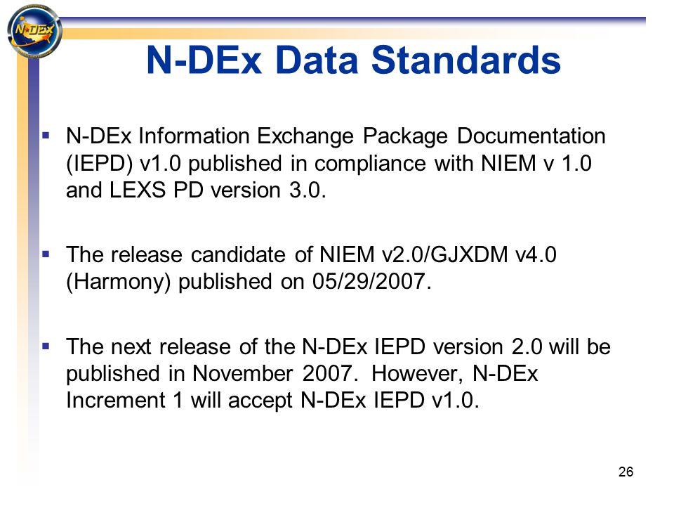26 N-DEx Data Standards  N-DEx Information Exchange Package Documentation (IEPD) v1.0 published in compliance with NIEM v 1.0 and LEXS PD version 3.0