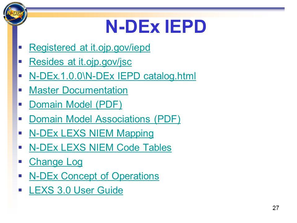 27 N-DEx IEPD  Registered at it.ojp.gov/iepd Registered at it.ojp.gov/iepd  Resides at it.ojp.gov/jsc Resides at it.ojp.gov/jsc  N-DEx.1.0.0\N-DEx