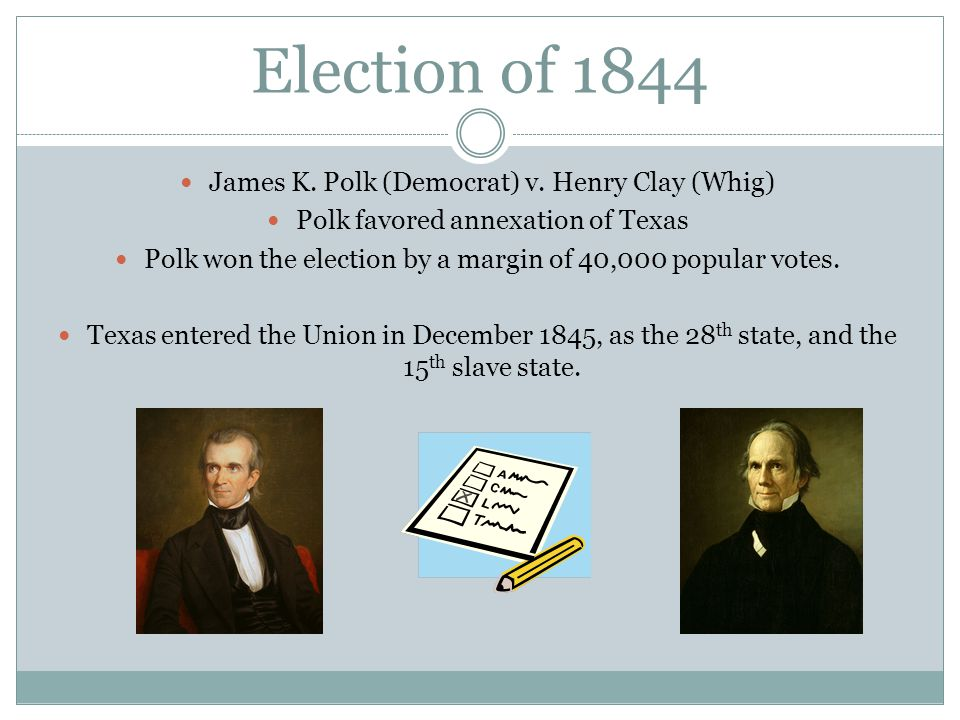 Election of 1844 James K. Polk (Democrat) v. Henry Clay (Whig) Polk favored annexation of Texas Polk won the election by a margin of 40,000 popular vo