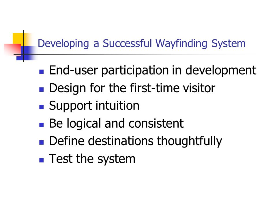 Developing a Successful Wayfinding System End-user participation in development Design for the first-time visitor Support intuition Be logical and consistent Define destinations thoughtfully Test the system