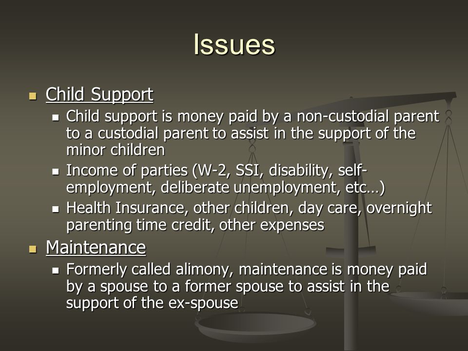 Issues Child Support Child Support Child support is money paid by a non-custodial parent to a custodial parent to assist in the support of the minor children Child support is money paid by a non-custodial parent to a custodial parent to assist in the support of the minor children Income of parties (W-2, SSI, disability, self- employment, deliberate unemployment, etc…) Income of parties (W-2, SSI, disability, self- employment, deliberate unemployment, etc…) Health Insurance, other children, day care, overnight parenting time credit, other expenses Health Insurance, other children, day care, overnight parenting time credit, other expenses Maintenance Maintenance Formerly called alimony, maintenance is money paid by a spouse to a former spouse to assist in the support of the ex-spouse Formerly called alimony, maintenance is money paid by a spouse to a former spouse to assist in the support of the ex-spouse
