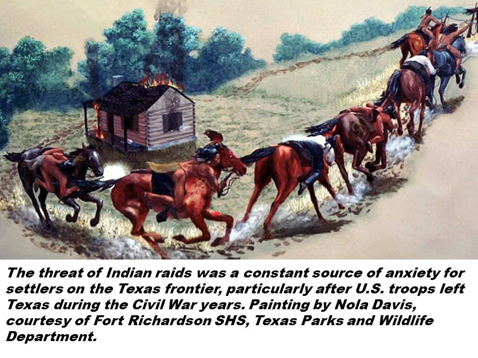 The threat of Indian raids was a constant source of anxiety for settlers on the Texas frontier, particularly after U.S. troops left Texas during the C