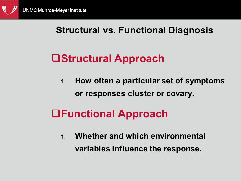 UNMC Munroe-Meyer Institute Structural vs. Functional Diagnosis  Structural Approach 1.