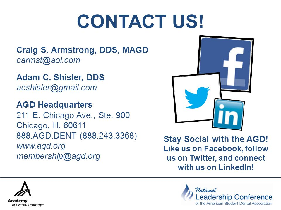 CONTACT US. Craig S. Armstrong, DDS, MAGD carmst@aol.com Adam C.