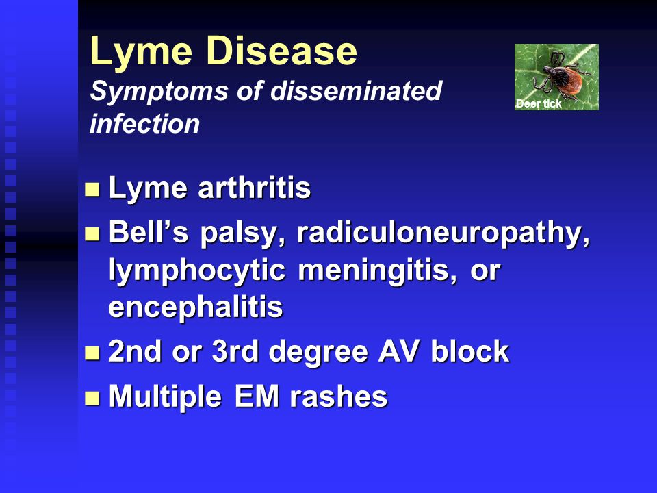 Lyme arthritis Lyme arthritis Bell's palsy, radiculoneuropathy, lymphocytic meningitis, or encephalitis Bell's palsy, radiculoneuropathy, lymphocytic meningitis, or encephalitis 2nd or 3rd degree AV block 2nd or 3rd degree AV block Multiple EM rashes Multiple EM rashes Lyme Disease Symptoms of disseminated infection Deer tick