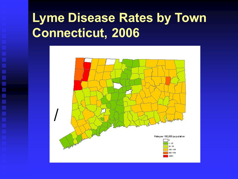Lyme Disease Rates by Town Connecticut, 2006