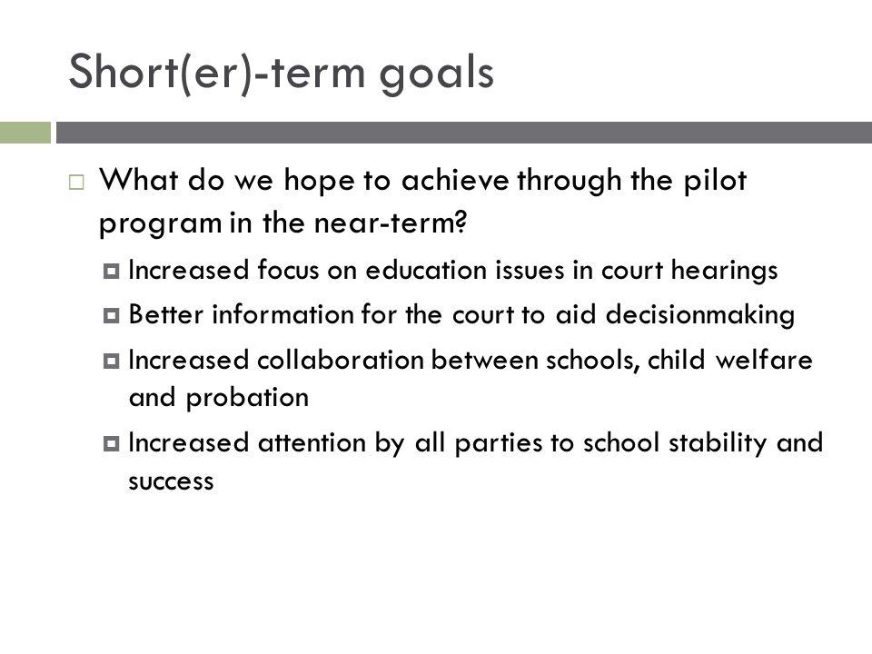 Short(er)-term goals  What do we hope to achieve through the pilot program in the near-term.