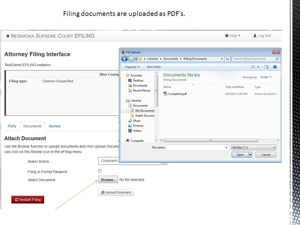 Filing documents are uploaded as PDF's.