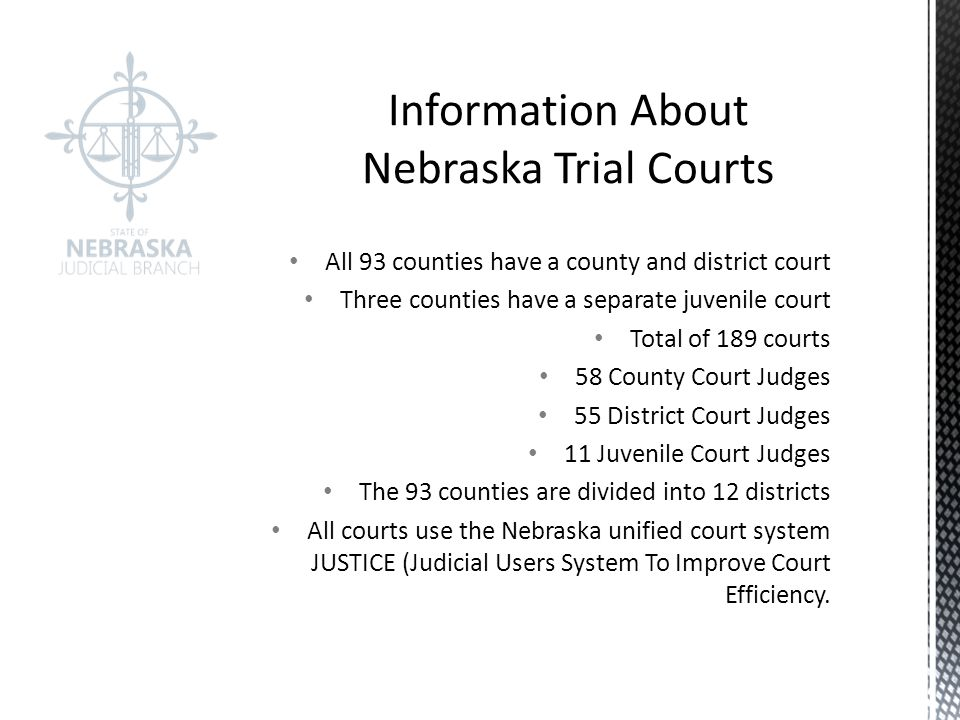 All 93 counties have a county and district court Three counties have a separate juvenile court Total of 189 courts 58 County Court Judges 55 District Court Judges 11 Juvenile Court Judges The 93 counties are divided into 12 districts All courts use the Nebraska unified court system JUSTICE (Judicial Users System To Improve Court Efficiency.
