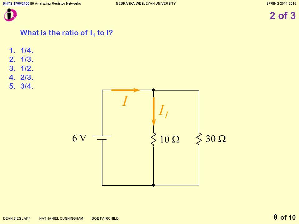PHYS-1700/2100PHYS-1700/2100 II5 Analyzing Resistor NetworksNEBRASKA WESLEYAN UNIVERSITYSPRING 2014-2015 DEAN SIEGLAFF NATHANIEL CUNNINGHAM BOB FAIRCHILD of 10 9 3 of 3 Which dissipates the most electric power.