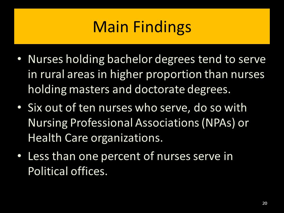 Main Findings Nurses holding bachelor degrees tend to serve in rural areas in higher proportion than nurses holding masters and doctorate degrees.
