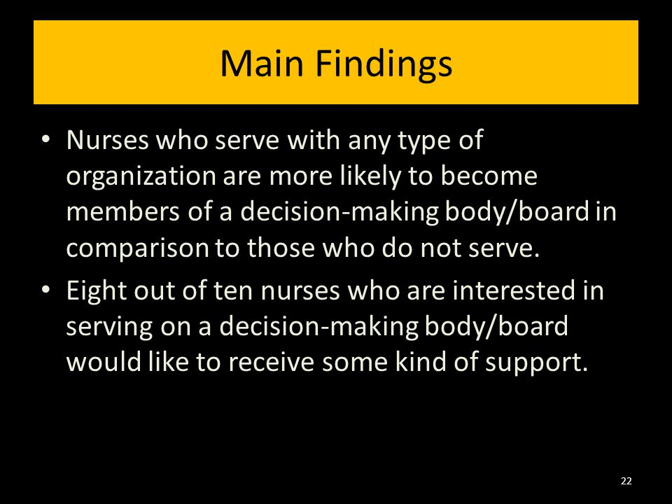 Nurses who serve with any type of organization are more likely to become members of a decision-making body/board in comparison to those who do not serve.