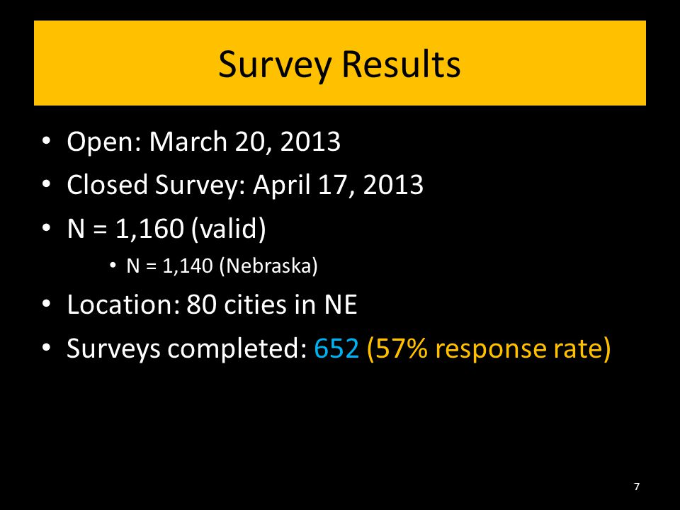 Survey Results Open: March 20, 2013 Closed Survey: April 17, 2013 N = 1,160 (valid) N = 1,140 (Nebraska) Location: 80 cities in NE Surveys completed: 652 (57% response rate) 7