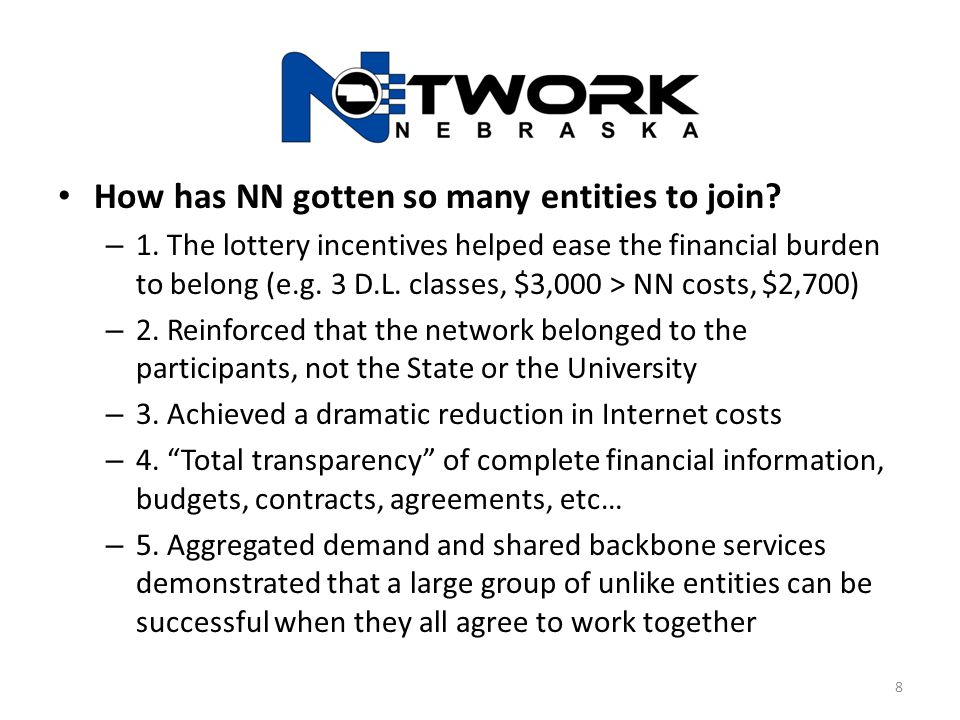 Connectivity Expectations for each NN Participant – Pay for WAN circuit to reach a Network Nebraska aggregation point: Scottsbluff-Panhandle Research Center Grand Island-College Park Lincoln-Nebraska Hall Omaha-Peter Kiewit Institute Omaha-Nebraska Co-Location Center – Or Sub-aggregation point: LaVista-ESU 3 Beatrice-ESU 5 Milford-ESU 6 9
