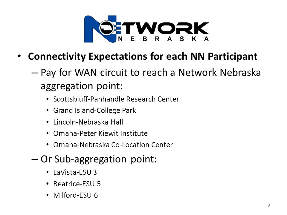 Connectivity Expectations for each NN Participant – Pay for WAN circuit to reach a Network Nebraska aggregation point: Scottsbluff-Panhandle Research