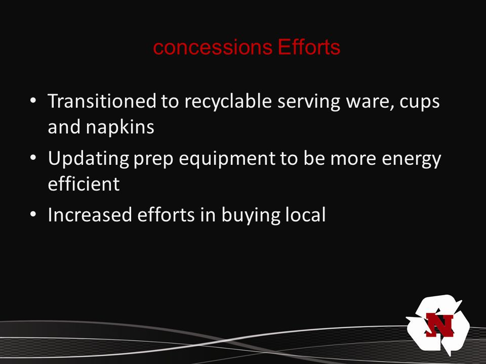Transitioned to recyclable serving ware, cups and napkins Updating prep equipment to be more energy efficient Increased efforts in buying local concessions Efforts