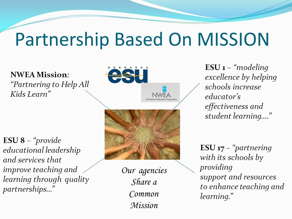 Partnership Based On MISSION NWEA Mission: Partnering to Help All Kids Learn ESU 1 – modeling excellence by helping schools increase educator's effectiveness and student learning…. ESU 8 – provide educational leadership and services that improve teaching and learning through quality partnerships… ESU 17 – partnering with its schools by providing support and resources to enhance teaching and learning. Our agencies Share a Common Mission