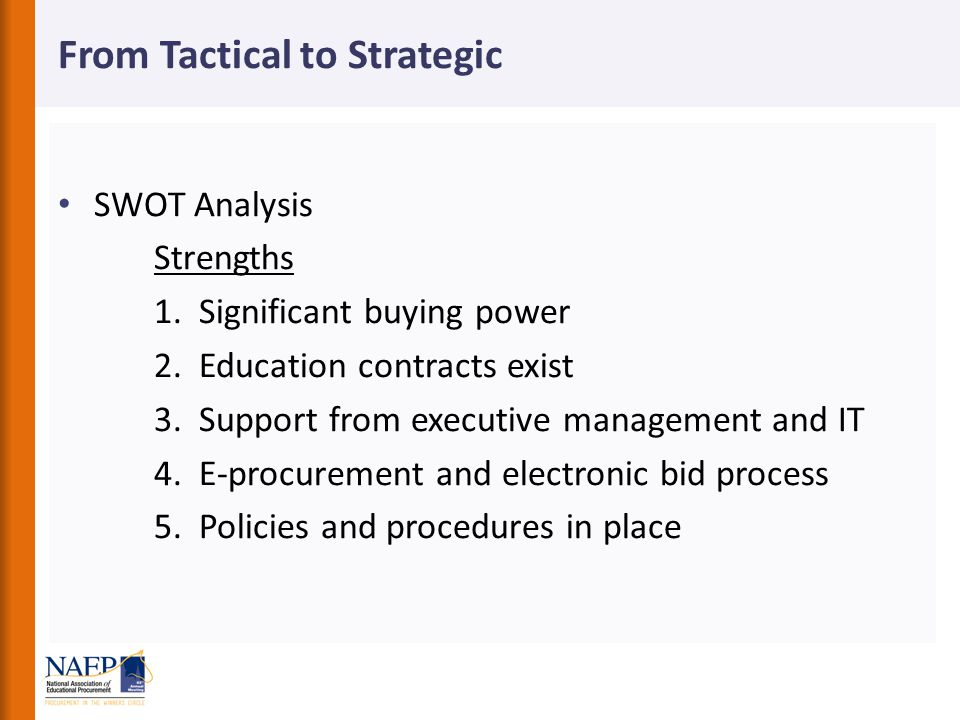 From Tactical to Strategic SWOT Analysis Strengths 1.
