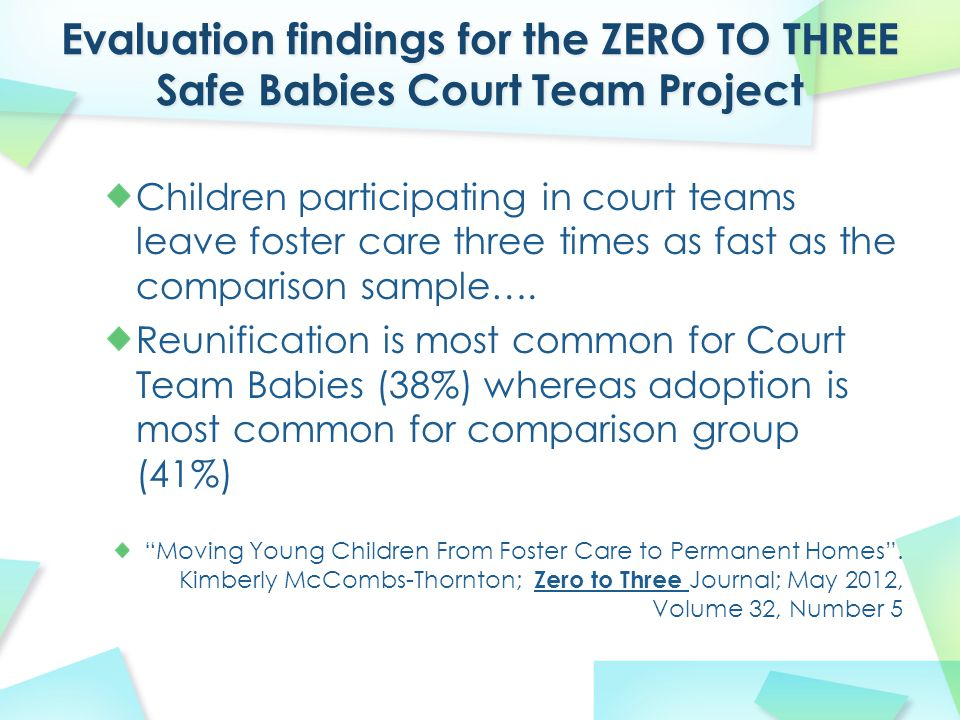 Children participating in court teams leave foster care three times as fast as the comparison sample…. Reunification is most common for Court Team Bab