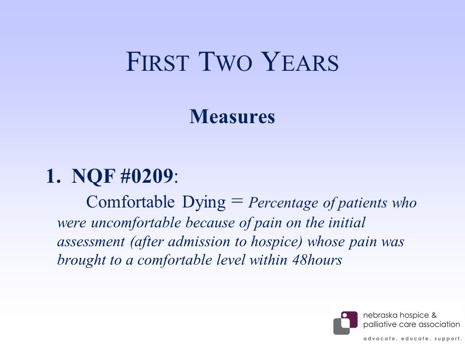 F IRST T WO Y EARS Measures 1.NQF #0209: Comfortable Dying = Percentage of patients who were uncomfortable because of pain on the initial assessment (after admission to hospice) whose pain was brought to a comfortable level within 48hours