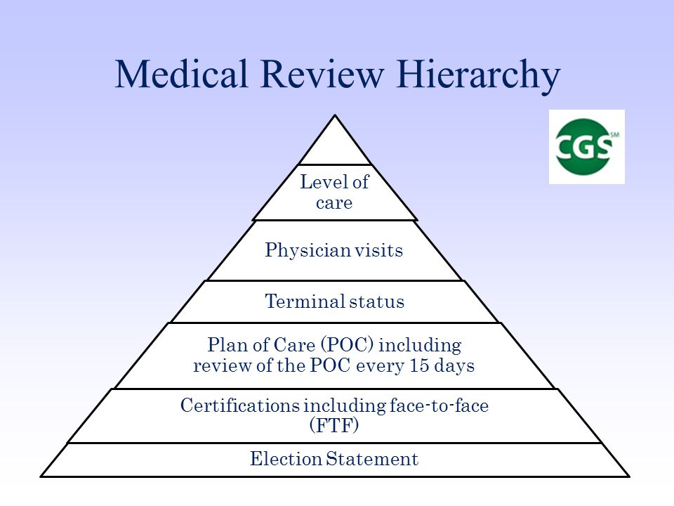 Medical Review Hierarchy Level of care Physician visits Terminal status Plan of Care (POC) including review of the POC every 15 days Certifications including face-to-face (FTF) Election Statement