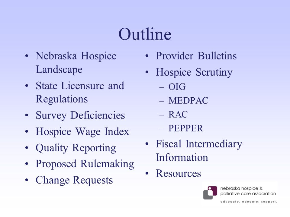 Outline Nebraska Hospice Landscape State Licensure and Regulations Survey Deficiencies Hospice Wage Index Quality Reporting Proposed Rulemaking Change Requests Provider Bulletins Hospice Scrutiny –OIG –MEDPAC –RAC –PEPPER Fiscal Intermediary Information Resources