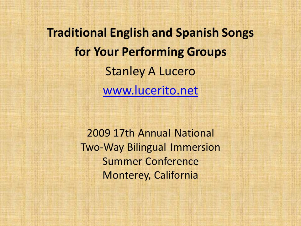 Workshop Description  If you are starting an Estudiantina, Rondalla, Marimba Band and/or Mariachi, you need a varied selection of Spanish and English songs to represent our cultural musical styles.
