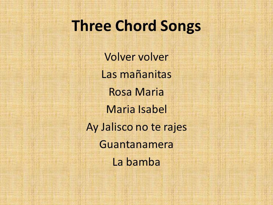 Three Chord Songs Volver volver Las mañanitas Rosa Maria Maria Isabel Ay Jalisco no te rajes Guantanamera La bamba