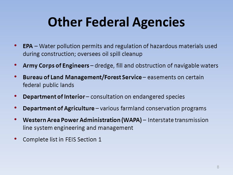 Other Federal Agencies EPA – Water pollution permits and regulation of hazardous materials used during construction; oversees oil spill cleanup Army Corps of Engineers – dredge, fill and obstruction of navigable waters Bureau of Land Management/Forest Service – easements on certain federal public lands Department of Interior – consultation on endangered species Department of Agriculture – various farmland conservation programs Western Area Power Administration (WAPA) – Interstate transmission line system engineering and management Complete list in FEIS Section 1 8