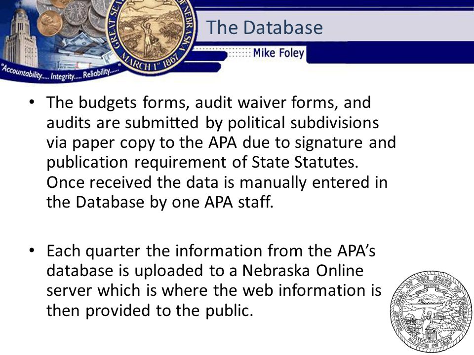 The budgets forms, audit waiver forms, and audits are submitted by political subdivisions via paper copy to the APA due to signature and publication requirement of State Statutes.