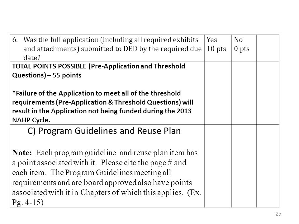 6.Was the full application (including all required exhibits and attachments) submitted to DED by the required due date.