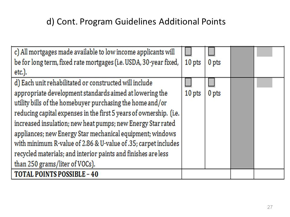 d) Cont. Program Guidelines Additional Points 27