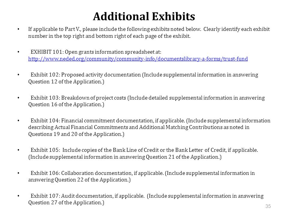 Additional Exhibits 35 If applicable to Part V., please include the following exhibits noted below.
