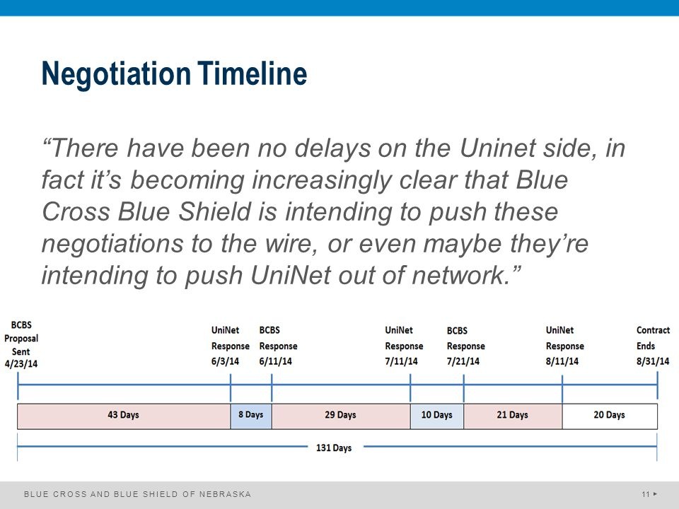 "Negotiation Timeline ""There have been no delays on the Uninet side, in fact it's becoming increasingly clear that Blue Cross Blue Shield is intending"