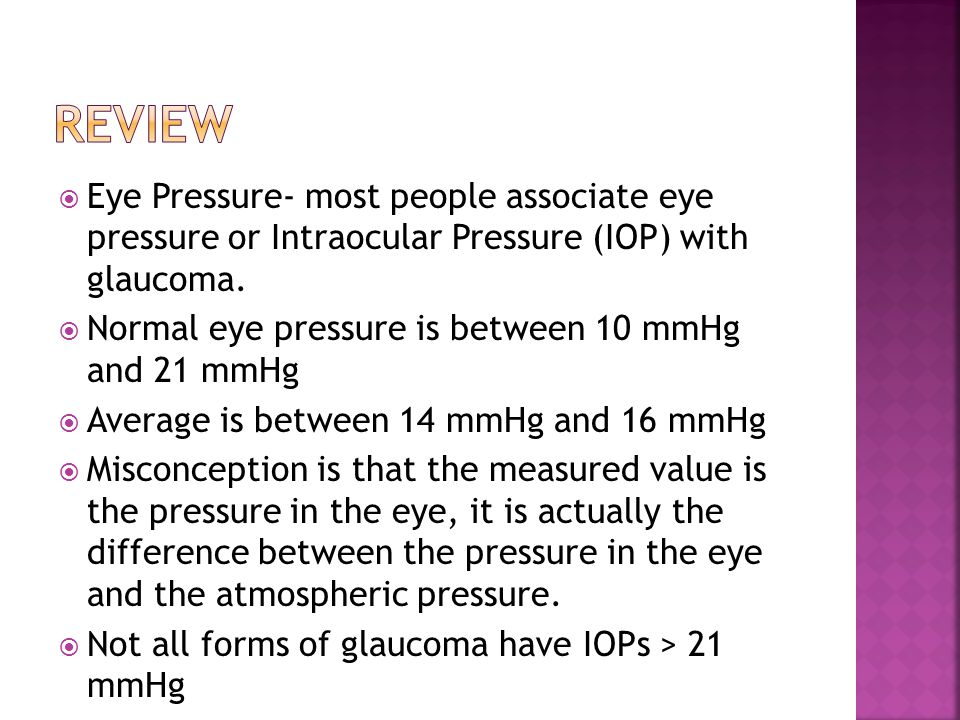  Eye Pressure- most people associate eye pressure or Intraocular Pressure (IOP) with glaucoma.