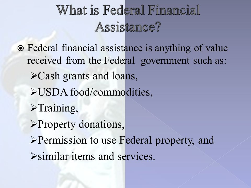  Federal financial assistance is anything of value received from the Federal government such as:  Cash grants and loans,  USDA food/commodities,  Training,  Property donations,  Permission to use Federal property, and  similar items and services.