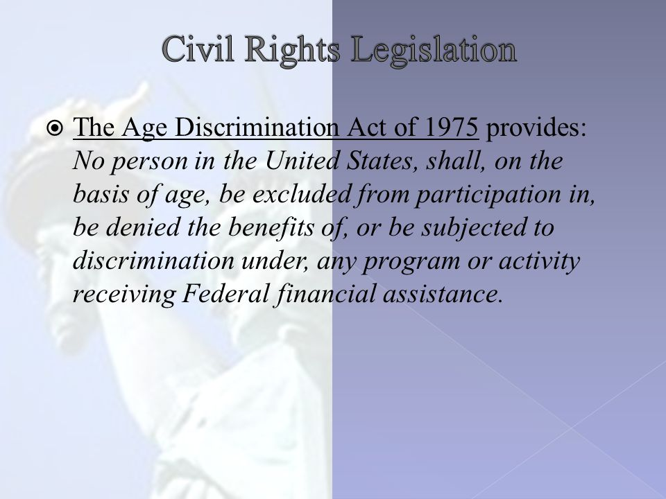  Title IX of the Education Amendments of 1972 states: No person in the United States shall, on the basis sex (gender), be excluded from the participation in, be denied the benefits of, or be subjected to discrimination under any educational program or activity receiving Federal financial assistance.