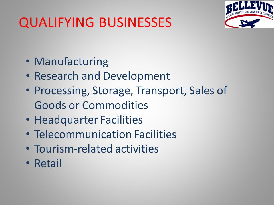 QUALIFYING BUSINESSES Manufacturing Research and Development Processing, Storage, Transport, Sales of Goods or Commodities Headquarter Facilities Telecommunication Facilities Tourism-related activities Retail