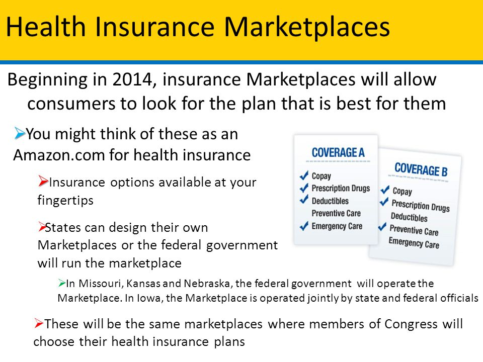 Health Insurance Marketplaces Beginning in 2014, insurance Marketplaces will allow consumers to look for the plan that is best for them   You might think of these as an Amazon.com for health insurance   Insurance options available at your fingertips  States can design their own Marketplaces or the federal government will run the marketplace  In Missouri, Kansas and Nebraska, the federal government will operate the Marketplace.
