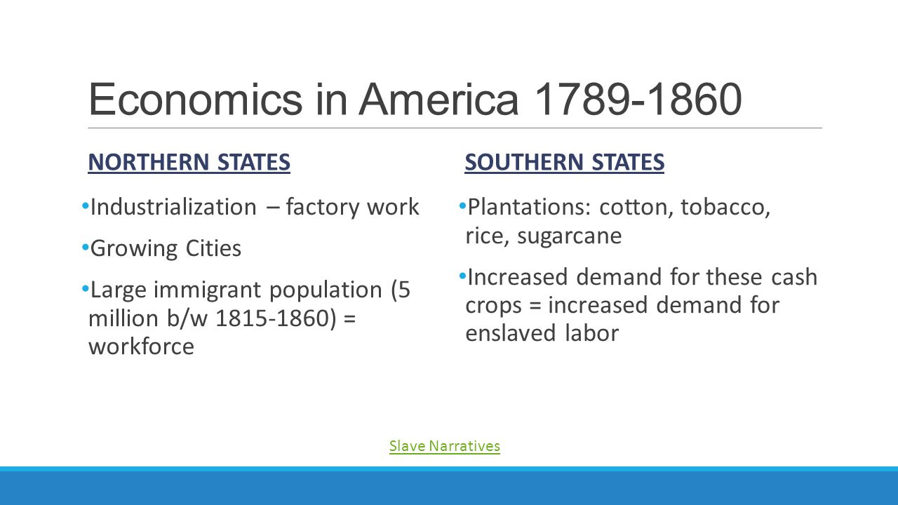 Economics in America 1789-1860 NORTHERN STATES Industrialization – factory work Growing Cities Large immigrant population (5 million b/w 1815-1860) =