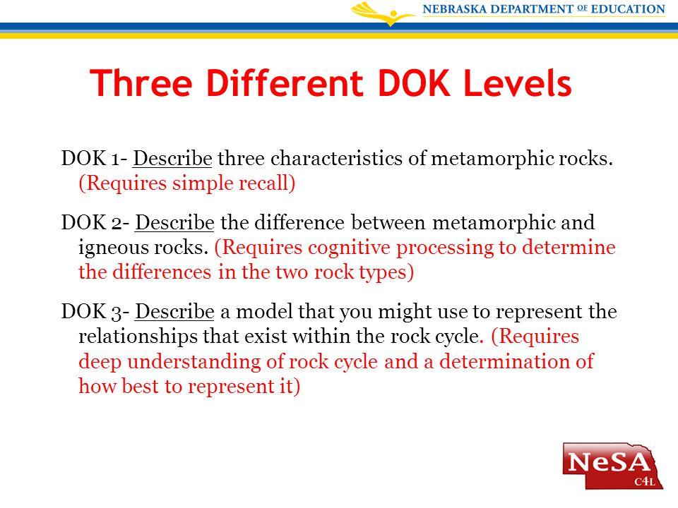 Three Different DOK Levels DOK 1- Describe three characteristics of metamorphic rocks.