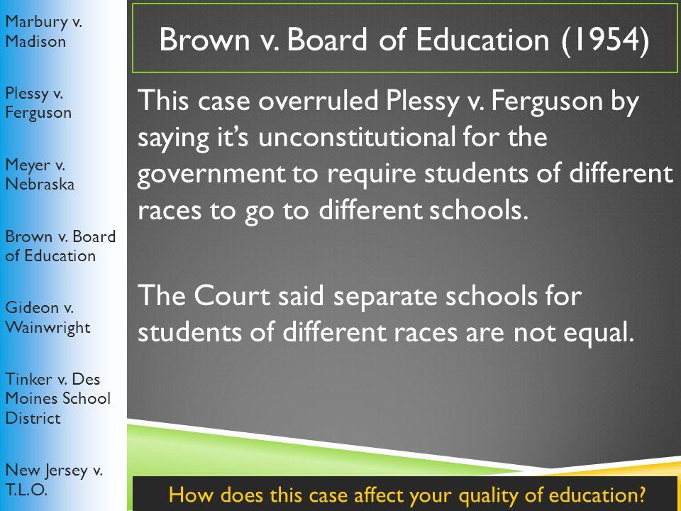 Brown v.Board of Education (1954) Marbury v. Madison Plessy v.