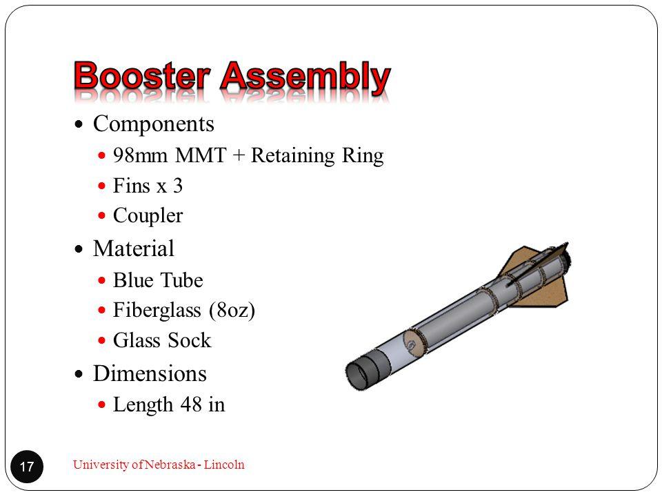 Components 98mm MMT + Retaining Ring Fins x 3 Coupler Material Blue Tube Fiberglass (8oz) Glass Sock Dimensions Length 48 in 17 University of Nebraska - Lincoln