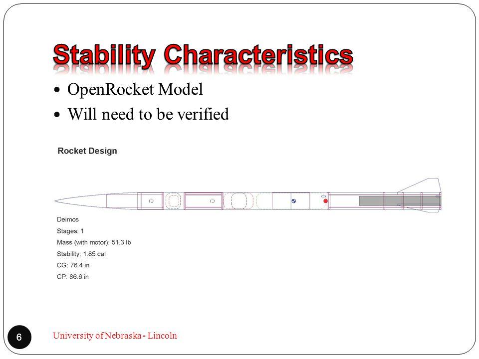 OpenRocket Model Will need to be verified 6 University of Nebraska - Lincoln