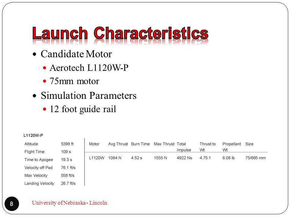 Candidate Motor Aerotech L1120W-P 75mm motor Simulation Parameters 12 foot guide rail 8 University of Nebraska - Lincoln