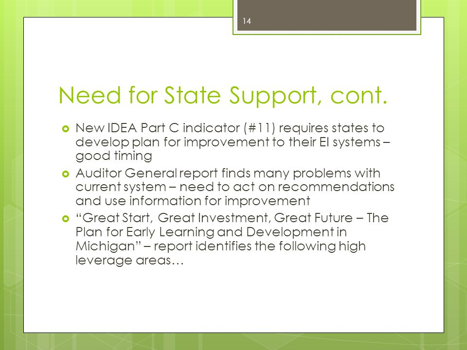 Need for State Support, cont.
