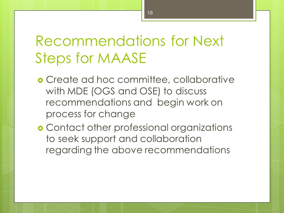 Recommendations for Next Steps for MAASE  Create ad hoc committee, collaborative with MDE (OGS and OSE) to discuss recommendations and begin work on process for change  Contact other professional organizations to seek support and collaboration regarding the above recommendations 18